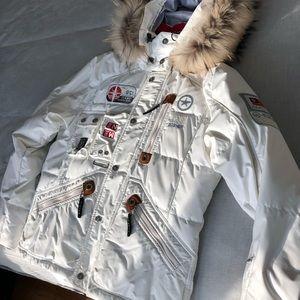 White Bogner Ski Jacket with powder skirt